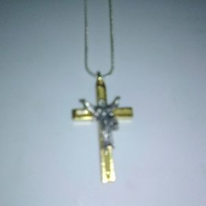 """Crucifix necklace with 26"""" sterling silver chain"""